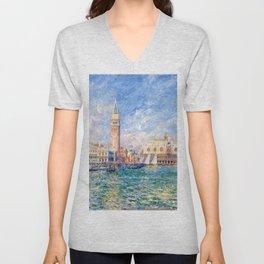 """Auguste Renoir """"Vue de Venise (Le Palais des Doges)"""" Unisex V-Neck"""