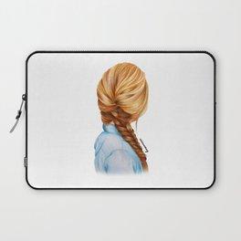 Blonde Fishtail Braid Girl Drawing  Laptop Sleeve