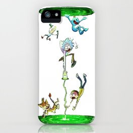 Rick & Morty fall in a portal. iPhone Case