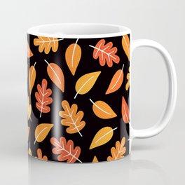 RETRO AUTUMN LEAVES ON BLACK Coffee Mug