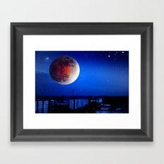 Small moon over the city. Framed Art Print