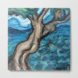 Tree People on the water Metal Print