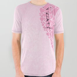 Pink Hearts All Over Graphic Tee