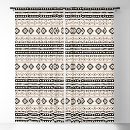 Aztec Teal Black Brown Cream Mixed Motifs Pattern Blackout Curtain