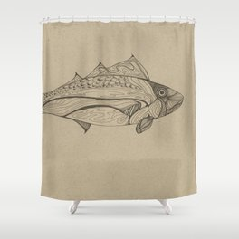 Fishy Line Shower Curtain