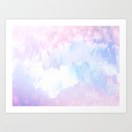Sky Fall Dream Pastel Glitch - pink and blue Art Print