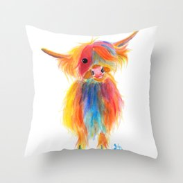 Scottish Highland Cow ' ANGEL ' by Shirley MacArthur Throw Pillow