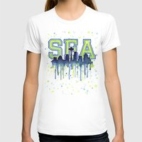 seahawks T-shirts featuring Seattle 12th Man Art Watercolor Space Needle Painting  by Olechka