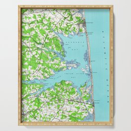 Vintage Rehoboth & Bethany Beach DE Map (1938) Serving Tray