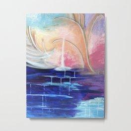 Flourescent Waterfall Painting. Waterfall, Abstract, Blue, Pink. Water. Jodilynpaintings. Metal Print