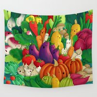 vegetarian Wall Tapestries featuring Nice People Eat Vegetables - background (Made with Danny Ivan) by Lidija Paradinović Nagulov - Celandine