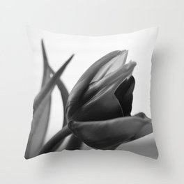Tulip Blooming In Black And White Throw Pillow