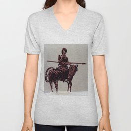 Don Quixote by Shimon Drory Unisex V-Neck