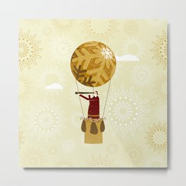 Santa flying in a christmas balloon Metal Print