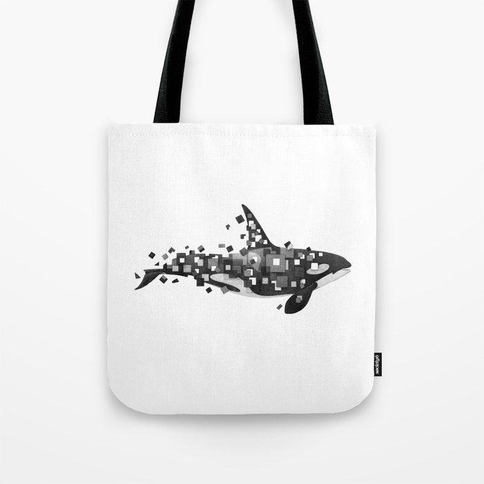 Fractured Killer Whale (mono) Tote Bag