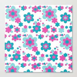 Teal Blue and Hot Pink Floral Canvas Print