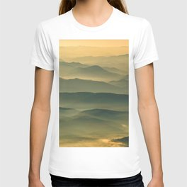 Foggy Mountain Layers at Sunset Rural / Rustic Landscape Photograph T-shirt