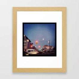 stoplight effect picture moon Framed Art Print