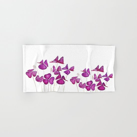purple clover leaves Hand & Bath Towel
