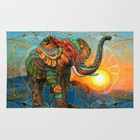 psychedelic Area & Throw Rugs featuring Elephant's Dream by Waelad Akadan