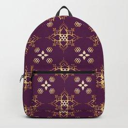 Indian Golden Art Lotus flower Mandala Pattern with Elegant Fuxia background color Backpack