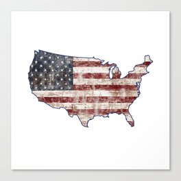 USA Map American Flag distressed rustic patriotic independence 4th of July United States of America Canvas Print