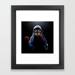 Boxing Cool Cat Framed Art Print