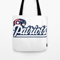 patriots Tote Bags featuring American Patriots by SuperEdu