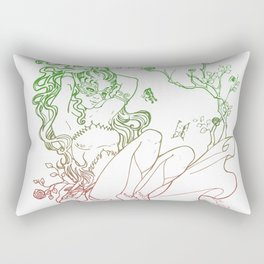 The Masked Fairy - leafy colors version - a masked fairy surrounded by butterflies and roses Rectangular Pillow