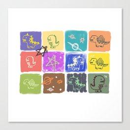 Chalkboard Dinosaurs Canvas Print