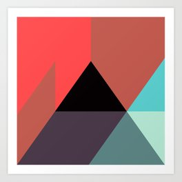 Red Black Blue Triangles Art Print