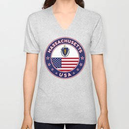 Massachusetts, Massachusetts t shirt, Massachusetts sticker, Unisex V-Neck