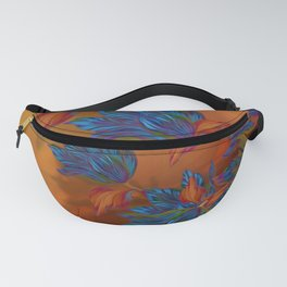 """Blue flowers on orange silk"" (Air Spring at night) Fanny Pack"