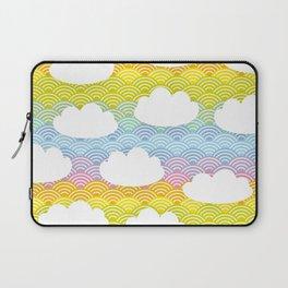 Kawaii white clouds and rainbow sky Laptop Sleeve