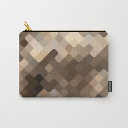Cool Beige Brown Abstract Rounded Squares Pattern Carry-All Pouch