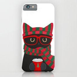 Black Cat Christmas Coffee iPhone Case