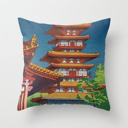 Japanese Woodblock Print Vintage Asian Art Colorful woodblock prints Pagoda Shinto Shrine Throw Pillow