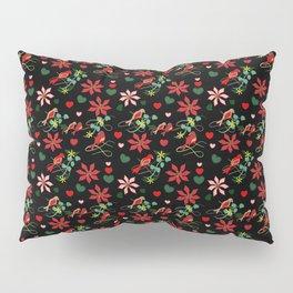 Christmas Birds Black Background Pillow Sham