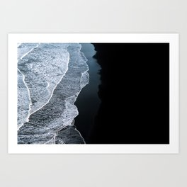 Minimalist take on a Wave on a black sand beach in Iceland – Landscape Photography Art Print