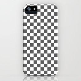 Small Checkered - White and Dark Gray iPhone Case