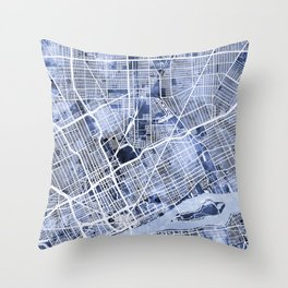 Detroit Michigan City Map Throw Pillow
