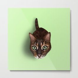 Empty Bowl Stare - Cat Metal Print