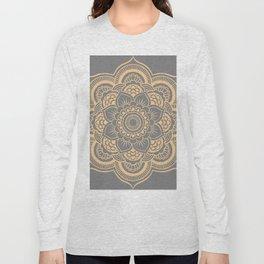 Mandala Flower Gray & Peach Long Sleeve T-shirt