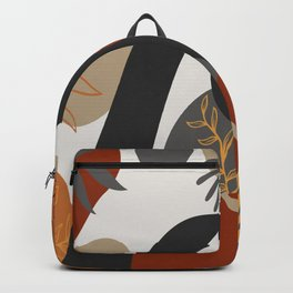 Hand drawn abstract portrait of beautiful african american girl,  monstera leaves background Backpack