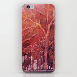 Alberi rossi nel bosco iPhone Skin