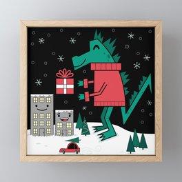 Kaiju Christmas Framed Mini Art Print