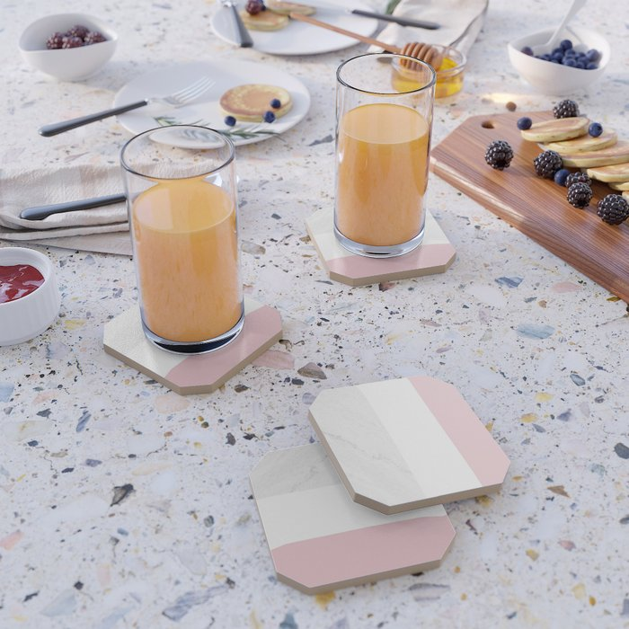 Marble Dusty Pink White Color Block Modern Geometry Coaster
