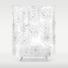Peony Flower Pattern Shower Curtain