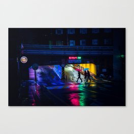 Neon Umbrellas Canvas Print