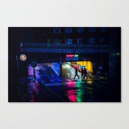 Neon Umbrellas Canvas Print